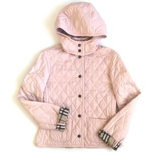 Burberry light pink quilted jacket with hood